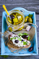 Bruschetta with with feta