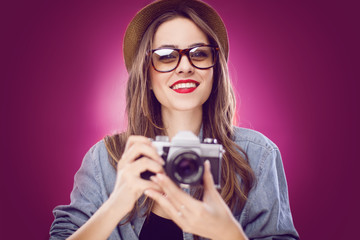 hipster girl with camera.