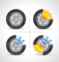 Set of seasonal tire icons