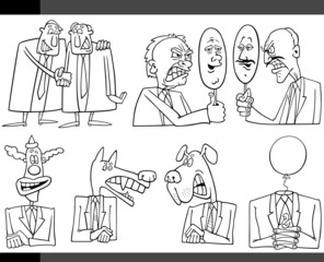 cartoon politics concepts set