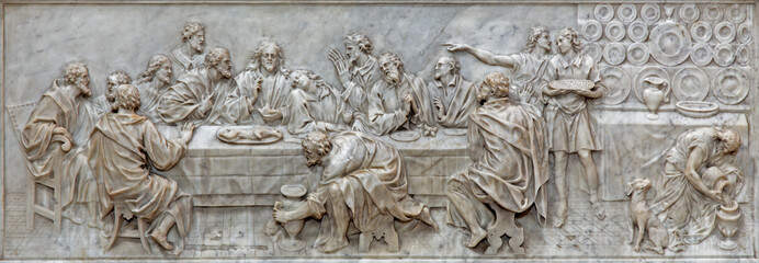 Padua - The relief of Last supper in Basilica del Carmine