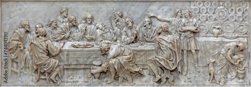 Padua - The relief of Last supper in Basilica del Carmine - 74404390