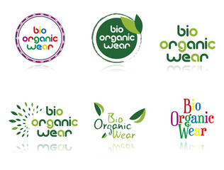 Collection of icons Bio organic wear, isolated, illustration
