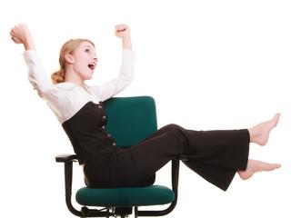 Success. Businesswoman celebrating promotion.