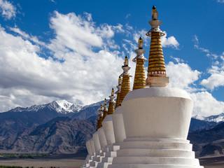 Buddhist stupa and Himalayas mountain. Ladakh, India
