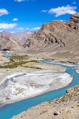Himalayan landscape in Himalayas along Manali-Leh highway. India
