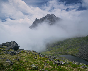 Fog in the mountains of the Eastern Sayan