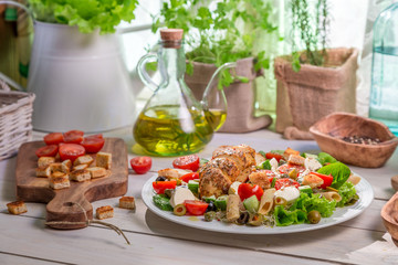 Healthy homemade food with vegetables