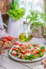 Spring salad in the sunny kitchen
