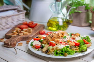 Closeup of healthy salad with vegetables