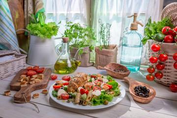 Ingredients for homemade Caesar salad