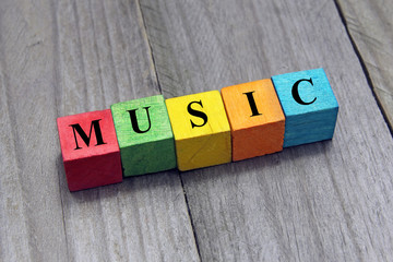concept of music word on wooden cubes