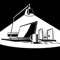 workplace in light  black and white