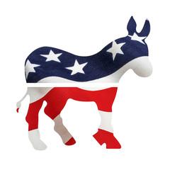Democrat Donkey Under American Flag