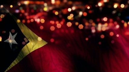 Timor Leste Flag Light Night Bokeh Abstract Loop Animation