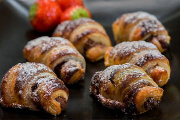 little chocolat croissants with strawberries