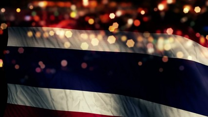 Thailand Flag Light Night Bokeh Abstract Loop Animation