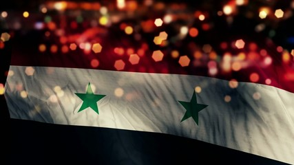 Syria Flag Light Night Bokeh Abstract Loop Animation