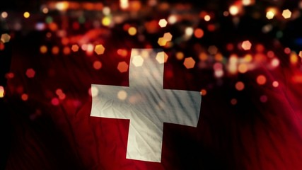 Switzerland Flag Light Night Bokeh Abstract Loop Animation
