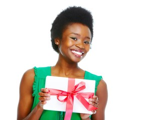 Beautiful african girl with gift.