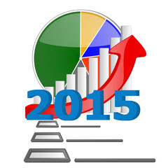2015 business graph chart with check