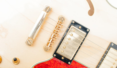 Detail of electric guitar bridge