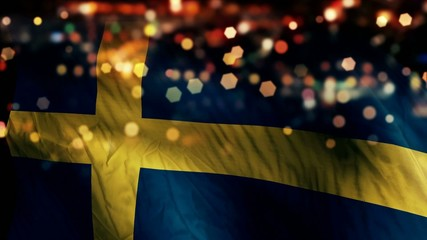 Sweden Flag Light Night Bokeh Abstract Loop Animation