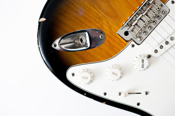 Detail of electric guitar body