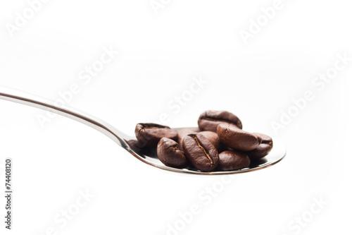 Fotobehang Cafe grains de café dans une petite cuillère