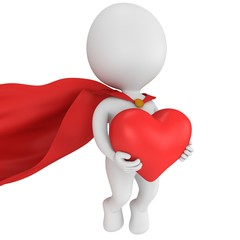 Brave superhero in love with big red heart