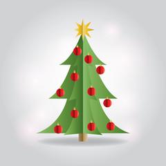 Christmas Holiday Tree Flat Illustration