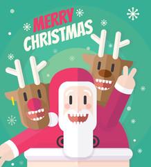Santa Reindeers Christmas Card