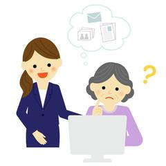 パソコン講師とシニア女性 / vector eps10