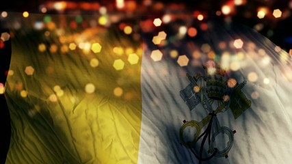 Vatican City Flag Light Night Bokeh Abstract Loop Animation