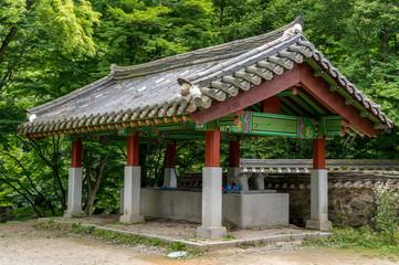 Korean buddhist temple water fountain.