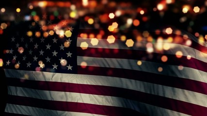 USA America Flag Light Night Bokeh Abstract Loop Animation