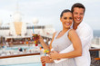 Leinwandbild Motiv caucasian couple having fun on cruise trip