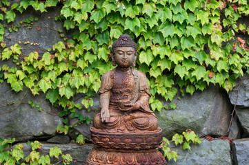 Rusted Bronze Buddha Statue in a Korean temple.