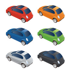 Set of Various Colored Vector Cars, Rear View