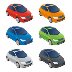 Set of Various Colored Vector Cars, Front View