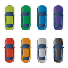 Set of Various Colored Vector Cars, Top View