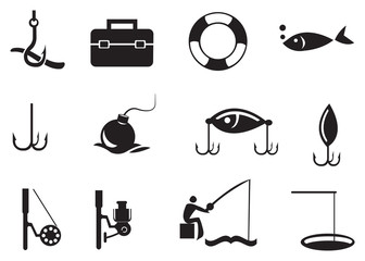 Black Fishing Icons on White Background