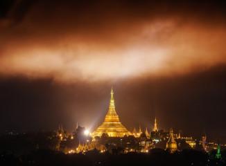 The Miracle clouds above the Shwedagon Pagoda. Yangon, Myanmar .