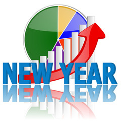 new year business graph with reflection