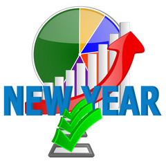 new year business graph chart with check