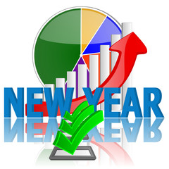 new year business graph and check with reflection