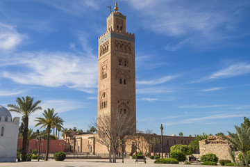 Koutoubia mosque in marrakech morocco.