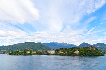 Panoramic view on mountains and towns on the Lake Maggiore