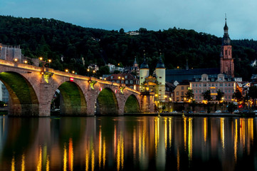 Heidelberg city night view with reflections