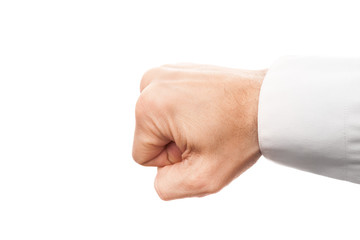 Close-up photo of a businessman fist isolated on white